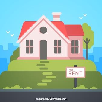 Плоский фон с домом в аренду