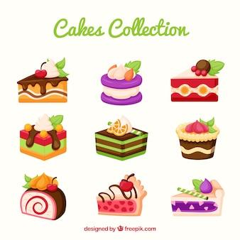 Вкусная коллекция тортов в плоском стиле