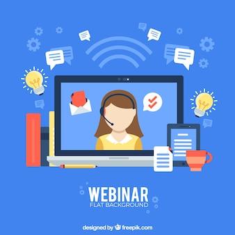 Концепция веб-семинара на синем фоне