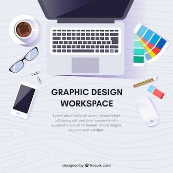 机とツールを備えたグラフィックデザインワークスペースの背景