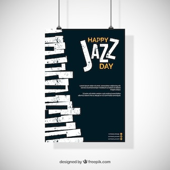 Международный джазовый плакат в плоском дизайне