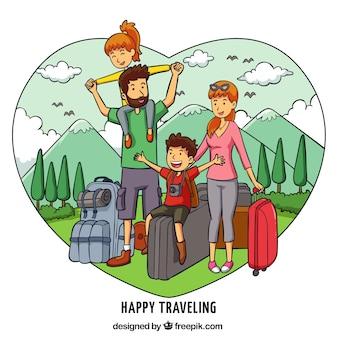 手描きのスタイルで旅行している幸せな家族
