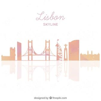 Скайлайн силуэт города лиссабон