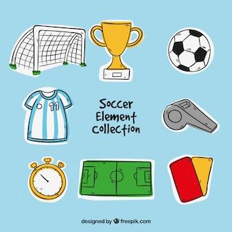 Коллекция футбольных элементов в ручном стиле