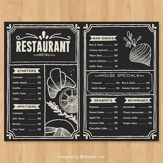 黒板スタイルのレストランメニュー