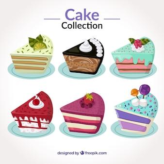 フラットなスタイルのおいしいケーキのセット