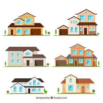 Коллекция красивых домов в плоском дизайне