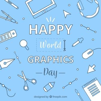 ワークツールを使った世界のグラフィックデイの背景