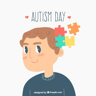 世界自閉症の日のカラフルな背景