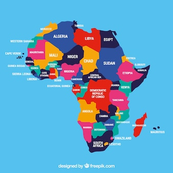 異なる色のアフリカ大陸の地図
