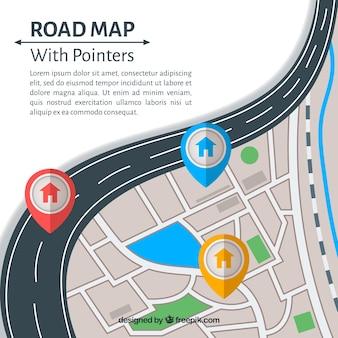 フラットスタイルのポインタによるロードマップ