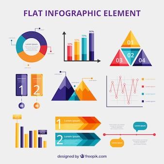 フラットスタイルのカラフルな情報要素コレクション