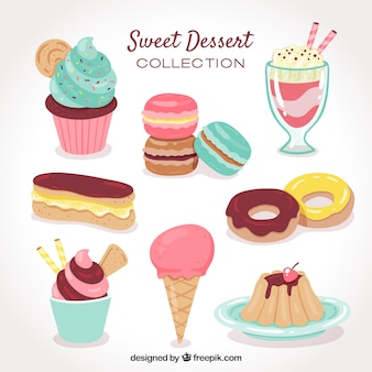 手描きのスタイルで甘いデザートコレクション