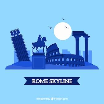 ローマの街のスカイラインのシルエット