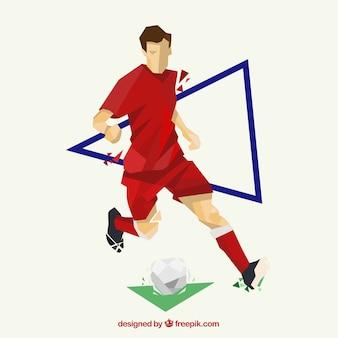 抽象的なスタイルのサッカー選手の背景
