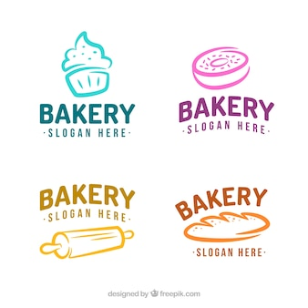 Набор булочных логотипов