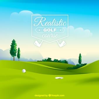 Поле для гольфа в реалистичном стиле