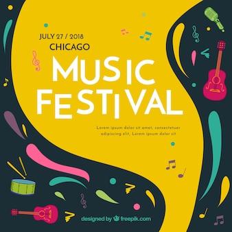 Фон музыкального фестиваля в плоском стиле