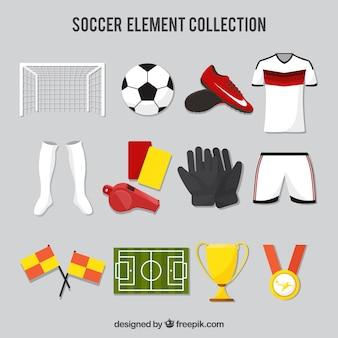 機器を備えたサッカーの要素のコレクション