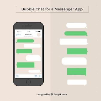 メッセンジャーアプリのためのさまざまな泡のセット