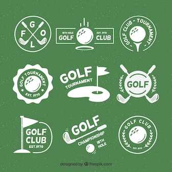 Набор значков для гольфа в плоском стиле