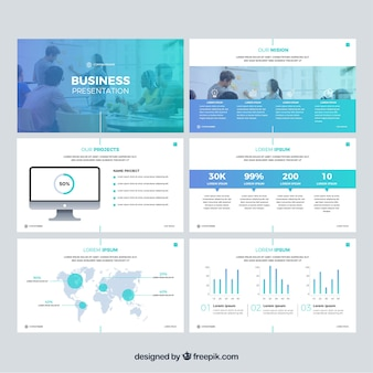 Шаблон бизнес-презентации в плоском стиле
