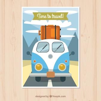 フラットスタイルの旅行ポストカードテンプレート
