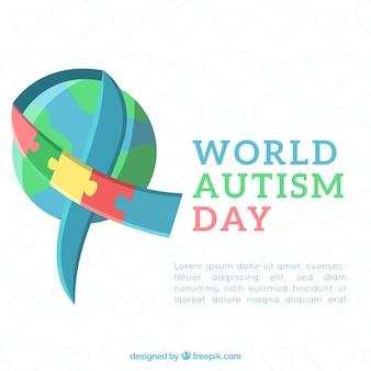 Фон дня аутизма в плоском стиле
