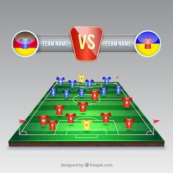Футбольное поле фон с табло в реалистичном стиле