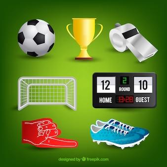 現実的なスタイルのサッカーの要素のコレクション