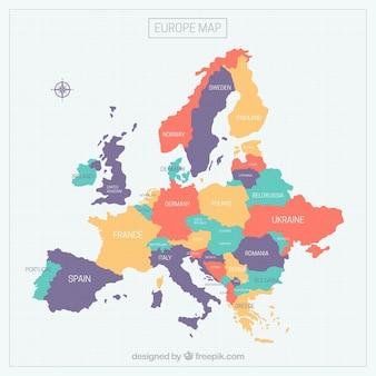 カラフルなヨーロッパの地図