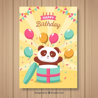 Поздравительная открытка с пандой и воздушными шарами