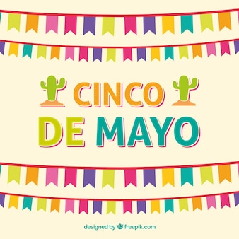 Фон синко де майо с красочными вымпелами