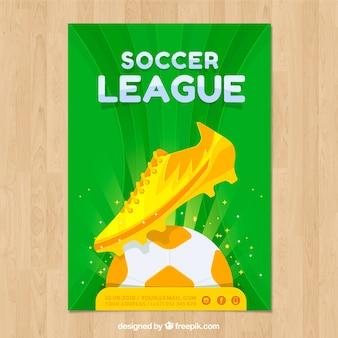 ゴールデンボールを持つサッカーリーグチラシ
