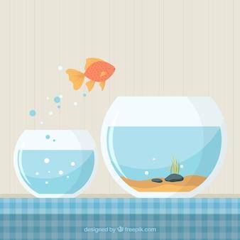 Золотая рыбка выпрыгивает из аквариума в плоском стиле