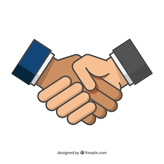 Бизнес рукопожатие фон в плоском стиле