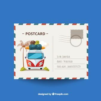 フラットデザインの旅行用ポストカード