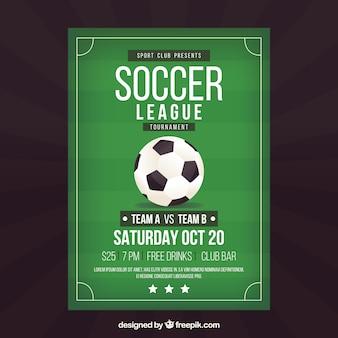 フラットスタイルのボールを持つサッカーリーグチラシ