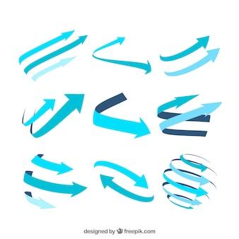 フラットなスタイルでマークするカラフルな矢印のセット