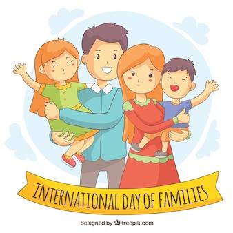 手で描かれた幸せな家族の日