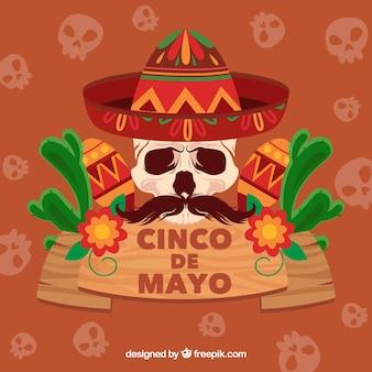 Фон синко де майо с мексиканским черепом