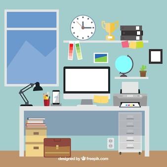 手描きスタイルのグラフィックデザインワークスペースの背景