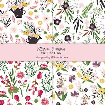 手描きのスタイルで花のパターンのコレクション