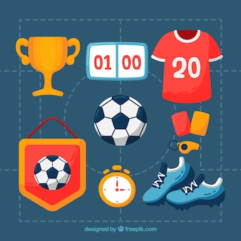 手描きのスタイルでサッカーの要素のコレクション