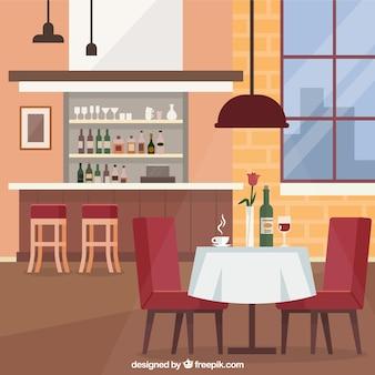 Элегантный ресторан с плоским дизайном