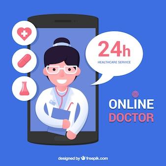 Интернет-концепция врача со смартфоном