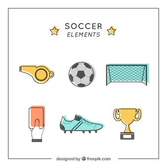フラットスタイルの装備によるサッカーの要素のコレクション