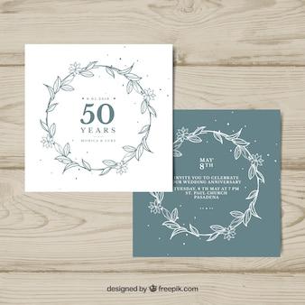 ヴィンテージスタイルの結婚記念日カード