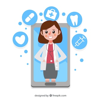 Современная онлайн-концепция врача со смартфоном