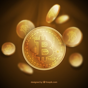 光沢のあるゴールデンビットコインデザイン